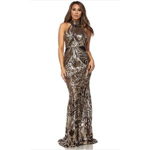 Halter top sequin beaded dress